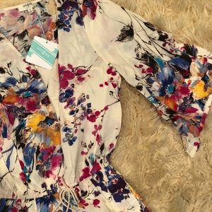 Umgee Floral Romper with tie waist